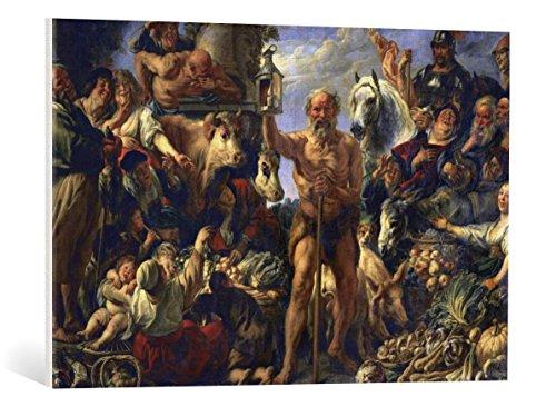 kunst für alle Leinwandbild: Jacob Jordaens Diogenes mit der Laterne auf dem Markte Menschen suchend - hochwertiger Druck, Leinwand auf Keilrahmen, Bild fertig zum Aufhängen, 85x55 cm