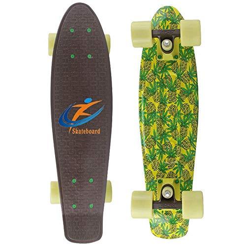 CN Skateboard-Fischplatte Vierrädrigen Skateboard Doppel-Warping Straße Pinsel Straße Board Menschen Professionelle Skateboard,Ananas,56 * 16cm