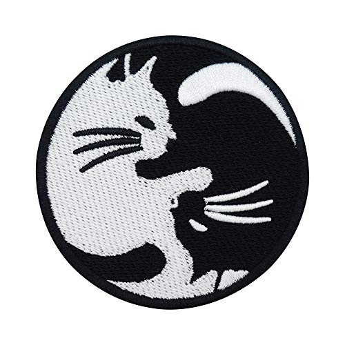 Finally Home Yin Yang Katze Bügelbild Patch zum Aufbügeln | Mond Patches, Aufbügelmotive