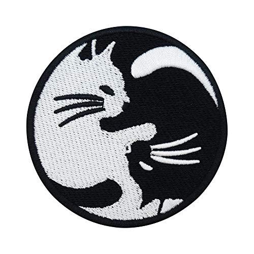 Finally Home Yin Yang Katze Bügelbild Patch zum Aufbügeln   Mond Patches, Aufbügelmotive
