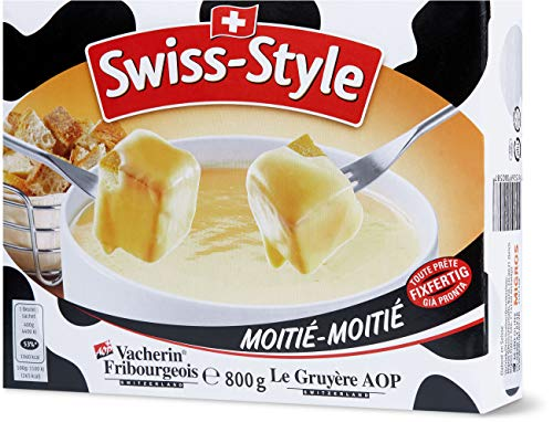 Swiss-Style Fondue-Käse 'Moitié-Moitié' - 800g Käsemischung aus dem zart schmelzenden Vacherin Fribourgeois und aus dem Greyerzer (Hartkäse)