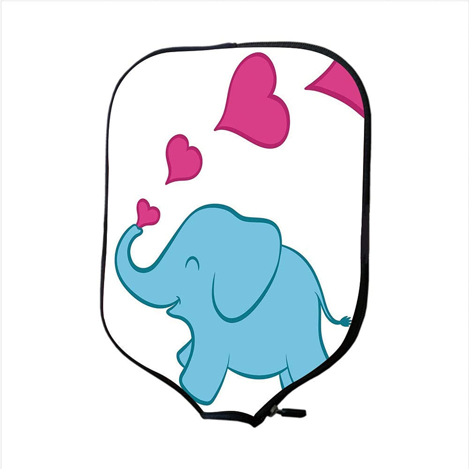Fine Neoprene Pickleball Paddle Racket Cover Case,Nursery,Cute Vibrant colord Elephant Valentines Day Inspired Romantic Drawing Style Decorative,Sky blueee Pink,Fit for Most Rackets
