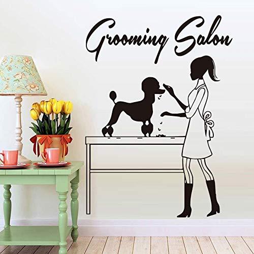 Dierenwinkel kapsalon muurstickers hond kappers ramen vinyl stickers verwijderbare schoonheidsspecialiste decoratie accessoires 63x81cm