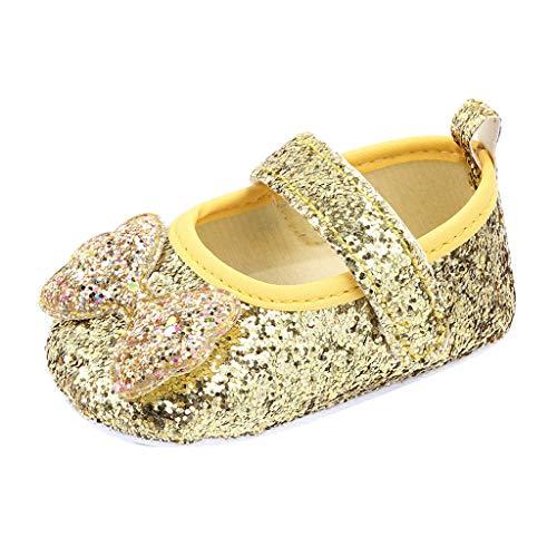 Comie - Zapatos Infantiles para bebé, niña, Princesa, Zapatos, Flores, Lazo, cómodos, con diseño de Mariposas, Nudos, Antideslizantes Dorado ((0-3 Meses))