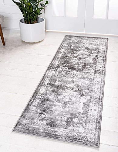 "Unique Loom Sofia Collection Traditional Vintage Runner Rug, 2' x 6' 7"", Gray/Light Gray"
