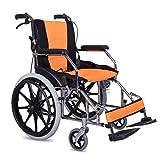 TWL LTD-Wheelchairs Rollstuhl Faltbar Vier Vollgummireifen Behinderte Ältere von Hand Eindrücken Abnehmbares Rollstuhlkissen, Orange -