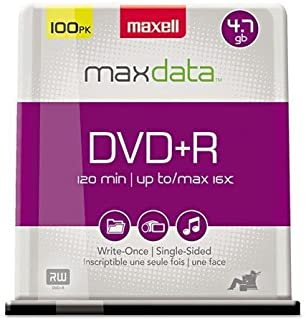 Maxell 639016 DVD+R Discs, 4.7GB, 16x, Spindle, Silver, 100/Pack