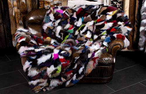 Lars Paustian International Furs Multicolor Pelz Decke aus kuscheligen Blaufuchsseiten - Echtfelldecke aus Fuchs - Fuchsfelldecke - Kuschelige Tagesdecken - Made in Germany