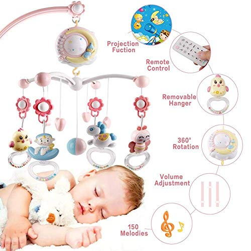 For Sale! SYXX Baby Musical Crib, Baby Music Crib with Timing Function, Hanging Rattle, Baby Toy Rat...