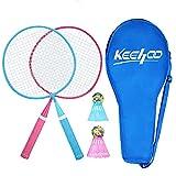 Keehoo Set Racchette da Badminton di qualità per Bambini: 2 Mini Racchette, 2 Volani Iridescenti, Inclusa Una Borsa per Racchette, Gioco Sportivo da Cortile Sia all'Interno Che all'Aperto