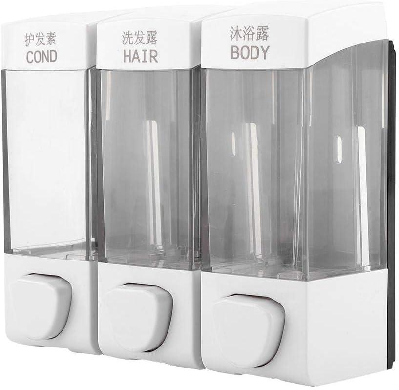 Dispensador de loción de jabón Dispensador de champú de 3 cámaras montado en la Pared con una Capacidad Total de 1050 ml