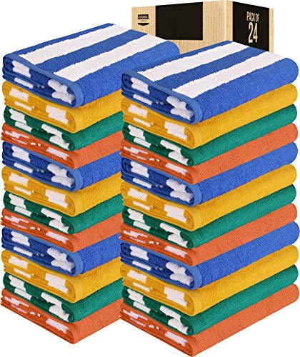 Utopia Towels Cabana Stripe Beach Towels, 30 x 60 Inches - Large Pool Towels (Bulk Pack of 24, Multi Color)