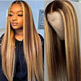 Highlight 4-27 150% Density Straight Lace Front Wigs Human Hair 13x4 Pre Plucked Brazilian Remy Hair Wigs With Baby Hair Bleached Knots (20inches)