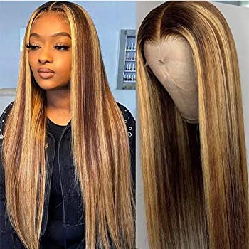 Highlight 4-27 150% Density Straight Lace Front Wigs Human Hair 13x4 Pre Plucked Brazilian Remy Hair Wigs With Baby Hair Bleached Knots  22inches