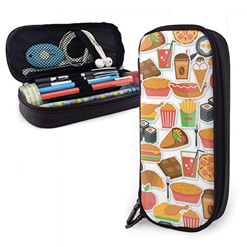 Estuche para lápices con diseño de iconos de comida rápida para niños y niñas, estuche para lápices de tamaño grande para estudiantes, universidades, suministros escolares y oficina