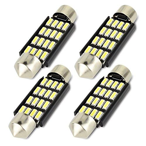 Safego 4x C5W LED Anti Errur 41mm-42mm 16-4014 SMD Dôme voiture Intérieur LED Lumière Xenon Blanc 6000K 12V 2W