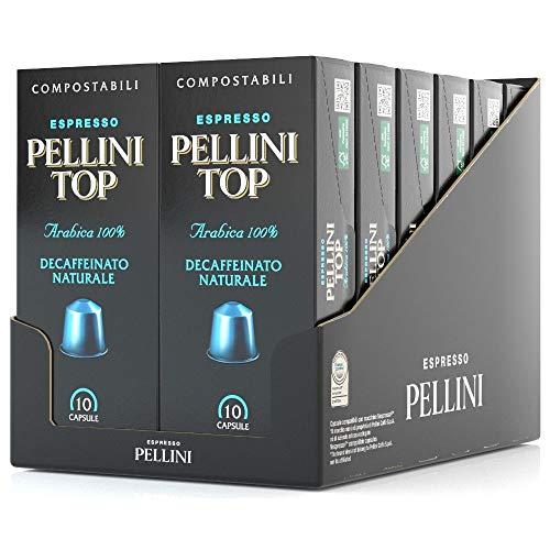 Pellini Caffè Top Arabica 100% natürlich entkoffeiniert, Nespresso-kompatible Kapseln und Selbstgeschützte KOMPOSTIERBARE Kapseln (12 Packung mit 10 Kapseln, gesamt 120 Kapseln)
