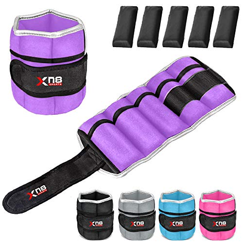 Xn8 Ankle Weights Adjustable Wrist Strap 1.5kg-2.5kg Leg Weight Sets for Fitness - Jogging - Walking - Exercise - Gymnastics - Aerobics - Gym - Training (Purple, 1.5Kg Pair = (1.5x2 = 3Kg))