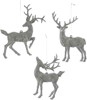 Kurt Adler 5.5-Inch - 5.9-Inch Silver Deer Christmas Ornament Set of 3