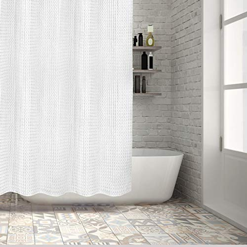 Hermosa Collection White Waffle Shower Curtain Luxury Hotel 100% Pure Thick Heavy Cotton 72 x 72 Inches