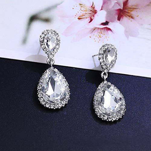 Ningz0l Oorbellen voor dames, oorsieraden, legering Europa en Amerika diamant kristallen druppels oorbel vrouwen shaped accessoires zilver