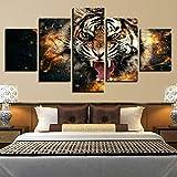 Cuadro En Lienzo 5 Pieza Pintura En Lienzo Roaring Wildlife Tiger Animal Arte De La Pared 5 Piezas Imagen Impresión En Lienzo Imagen De Pared Decoración del Hogar 150X80Cm