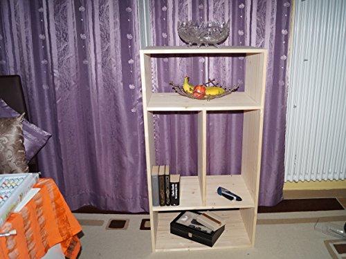 2in1 Regal Sideboard Bücherregal Schrank Wohnwand aus Massiv Fichte 120x64x40cm geschliffen Made in Germany - 4