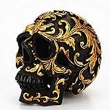 Jokerzi - Figura decorativa de cráneo de resina, diseño de calavera negra, talla dorada para Hallowe...