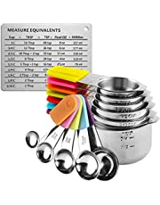 RWM Measuring Cups Spoons Set - 13pcs Magnetic Measuring Cups with Stainless Steel Metal - 1 Measurement Conversion Chart 7 Measuring Cups and 5 Measuring Spoons