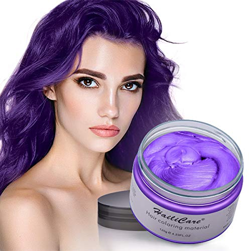Haarfarbe Wachs,HailiCare Temporäre Haarfarbe Farbstoff Natürliche Frisur Wachs Haar Styling Wachs für Party, Cosplay, Weihnachten, Geburtstag(violett)
