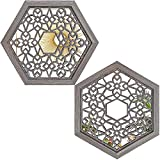 """Wocred 2 PCS Hexagon Wall Mirror,Gorgeous Rustic Farmhouse Accent Mirror,Barn Wood Color Entry Mirror for Bathroom Renovation,Bedrooms,Living Rooms and More(13.6""""x12"""")"""