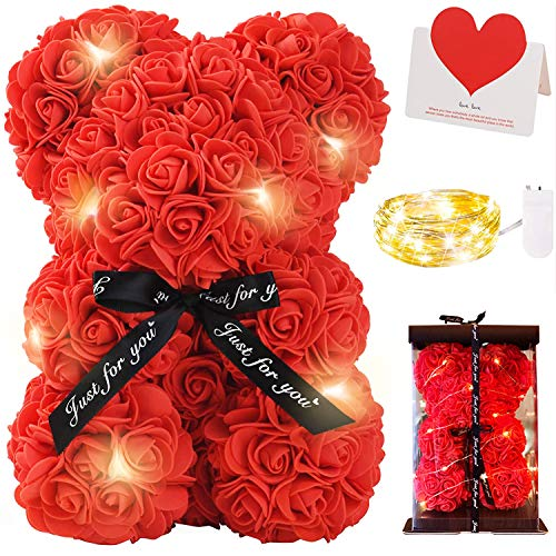 Zodight Oso de Rosas, Oso de Peluche Rojo con Caja Regalo + Cadena de Luz + Tarjetas felicitacion, Oso de Artificial Regalo para Madres/Novia/San Valentín/Cumpleaños/Bodas/Graduación/Aniversar