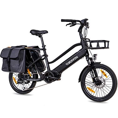 CHRISSON 20 Zoll E-Bike Lastenfahrrad ECARGO schwarz - Elektro Cargo Bike mit Bafang MaxDrive Mittelmotor 250W, 36V, 80 Nm, Lastenrad für Damen und Herren, praktisches Transport Elektrofahrrad