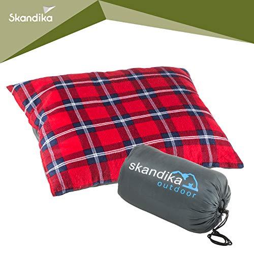 Skandika Dundee Sleepyhead kuscheliges Kopfkissen Flanell 65x45 cm ideal für Schlafsack, Isomatte, Reisen (rot)