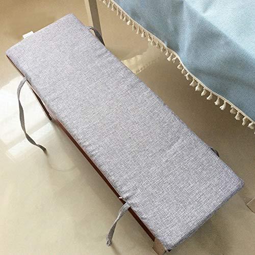 DE11 Cojín de banco largo desmontable y lavable, rectangular, cómodo, con cremallera, alfombrilla antideslizante para silla de madera para interiores y exteriores, con lazos de fijación