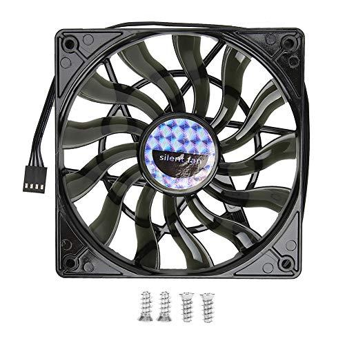 Ventilador de enfriamiento de computadora de escritorio de 12CM, 12V 4PIN 500-1600RPM 58.4CFM Ventilador de enfriamiento de PC 18-30 dBA Radiador de chasis de enfriador de CPU silencioso de bajo ruido