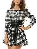 Allegra K Vestido Acampanado De Cuadros Mangas Largas con Cinturón Vestido Mini Camisero para Mujer Negro y Blanco L