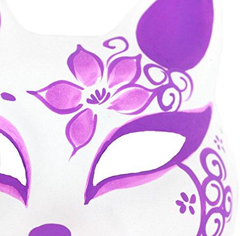 『StyleCoS 狐面 狐 お面 半面 マスク コスプレ ハンドメイド 紙パルプ製 和風色彩 (紫色)』の3枚目の画像