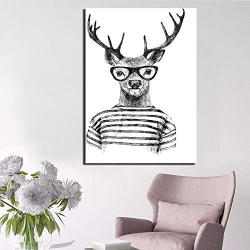 ZDFDC Mr Deer Großes Bild Öl Leinwand Tier Poster Wandkunst Wohnzimmer Wohnkultur-60x80cmx1 stücke kein Rahmen