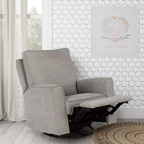 Baby Relax Jasmin Swivel Glider Recliner Chair, Pewter Gray Chenille