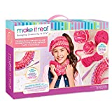 Make It Real - Beanie and Infinity Scarf Knitting Kit - Kids Crochet Kit for Beginners - Includes Loom, Crochet Hook, Plastic Yarn Needle - DIY Arts and Craft Kit Guides Kids to Crochet Beanie & Scarf