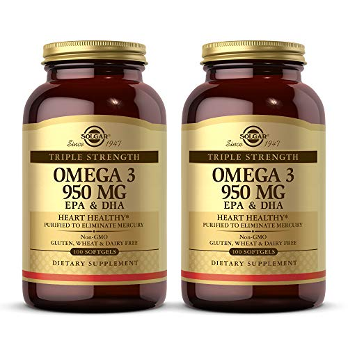 Solgar Triple Strength Omega-3 950 mg, 100 Softgels - 2 Pack - Supports Cardiovascular, Joint, Skin & Heart Health - Essential Fatty Acids - Non GMO, Gluten Free, Dairy Free - 100 Servings per Pack