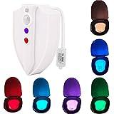 YouOKLight Impermeable Luz LED de Noche de Inodoro Luz Ultravioleta Nocturna UV-C Esterilización Luz Higiénico de WC 8 Colores Cambiantes con Sensor de Movimiento