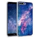 kwmobile Hülle kompatibel mit Huawei Y6 (2018) - Handyhülle - Handy Hülle Galaxie Sterne Rosa Pink Dunkelblau
