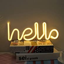 LED Hello Shape Neon Word Sign Neon Letters Light Art Decorative Lights Wall Decor for Baby Room Christmas Wedding Party Supplies (Warm White Hello)