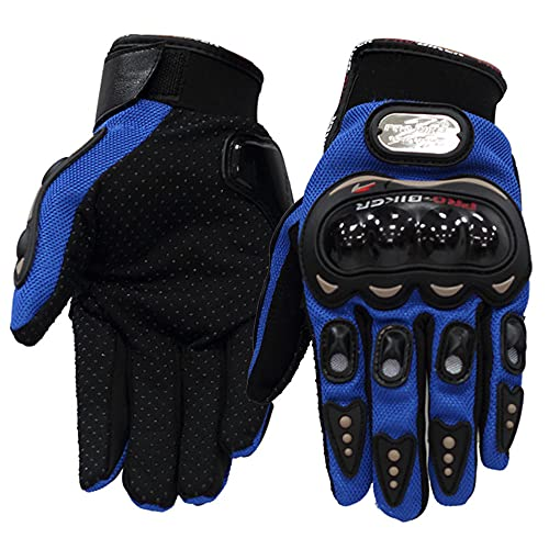 Guantes de Motocicleta de Carreras Antideslizantes Antideslizantes Antideslizantes de Dedo Completo para Montar al Aire Libre Guantes Protectores masculinos-azul-XL-B39