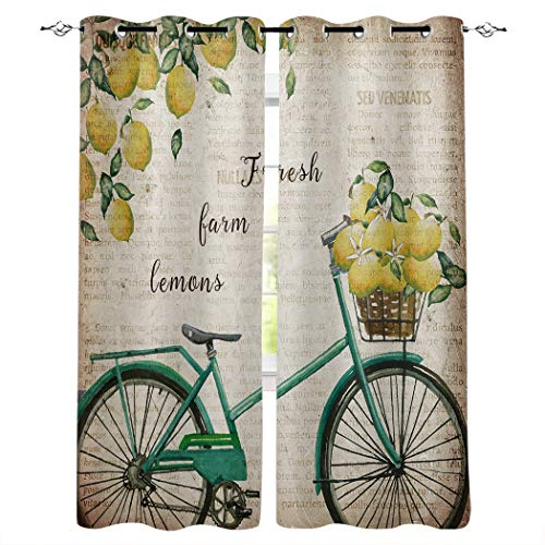 """Room Darkening Blackout Window Curtains with Grommets, Vintage Newspaper Farm Bicycle with Lemons, Soft Polyester Fabric Curtain for Kitchen and Coffee Shop Decoration, 27.5""""x39""""x 2 Pieces"""
