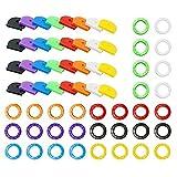 Huture 64 Stücke Schlüssel Kappen Tags Kit Abdeckungen Gummi Kennzeichnungsetikett Topper Perfekte Codierung System 8 Farben für Hausschlüssel Organisation Auto Motorrad Fahrrad