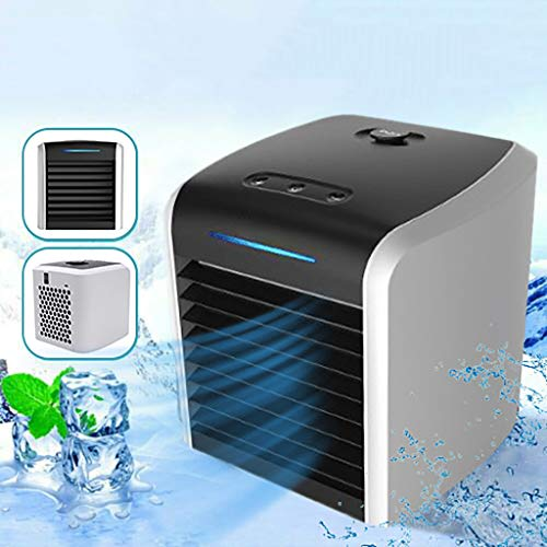 SU&YU Air Conditioner Fan,Air Cooling Purifier Fan,Personal Air Cooler Fan with 7 Colors Light Black