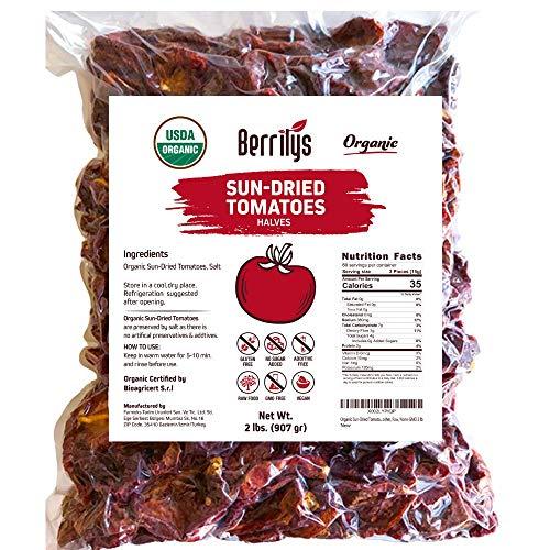 Sun-Dried Tomatoes, 2 lbs, USDA Organic, Naturally dried with salt, No Sulphur, No preservatives, Just Dried Tomato Halves, Kosher, Raw, Non-GMO